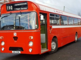 Single deck Red bus for weddings in Birmingham